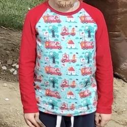 Camiseta infantil - algodón orgánico - manga raglán larga - Bomberos