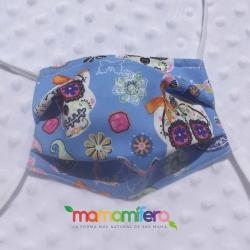 Mascarilla infantil - tejido homologado - Catrinas azul