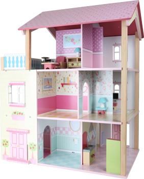 Casita de muñecas - Tejado rosa - giratoria