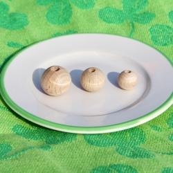 Bolas y abalorios de madera natural de haya