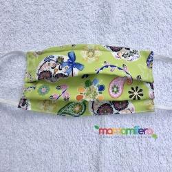 Mascarilla infantil - tejido homologado - Catrinas verde
