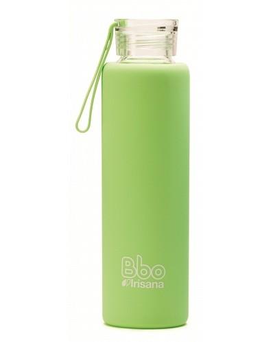Botella reutilizable 550 ml. con funda de silicona - verde