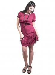 Vestido premamá y lactancia Rosana - burdeos