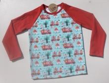 Camiseta bebé - algodón orgánico - manga raglán larga - Bomberos