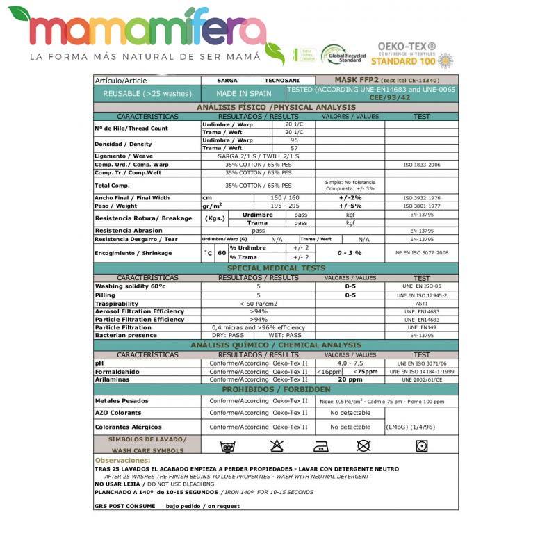 Mascarilla higienica infantil - tejido homologado - Catrinas