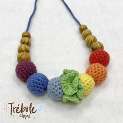 Collar de porteo/lactancia - Organic Rainbow Flower - Pino