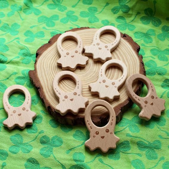 Aro - anilla PULPO de madera natural de haya