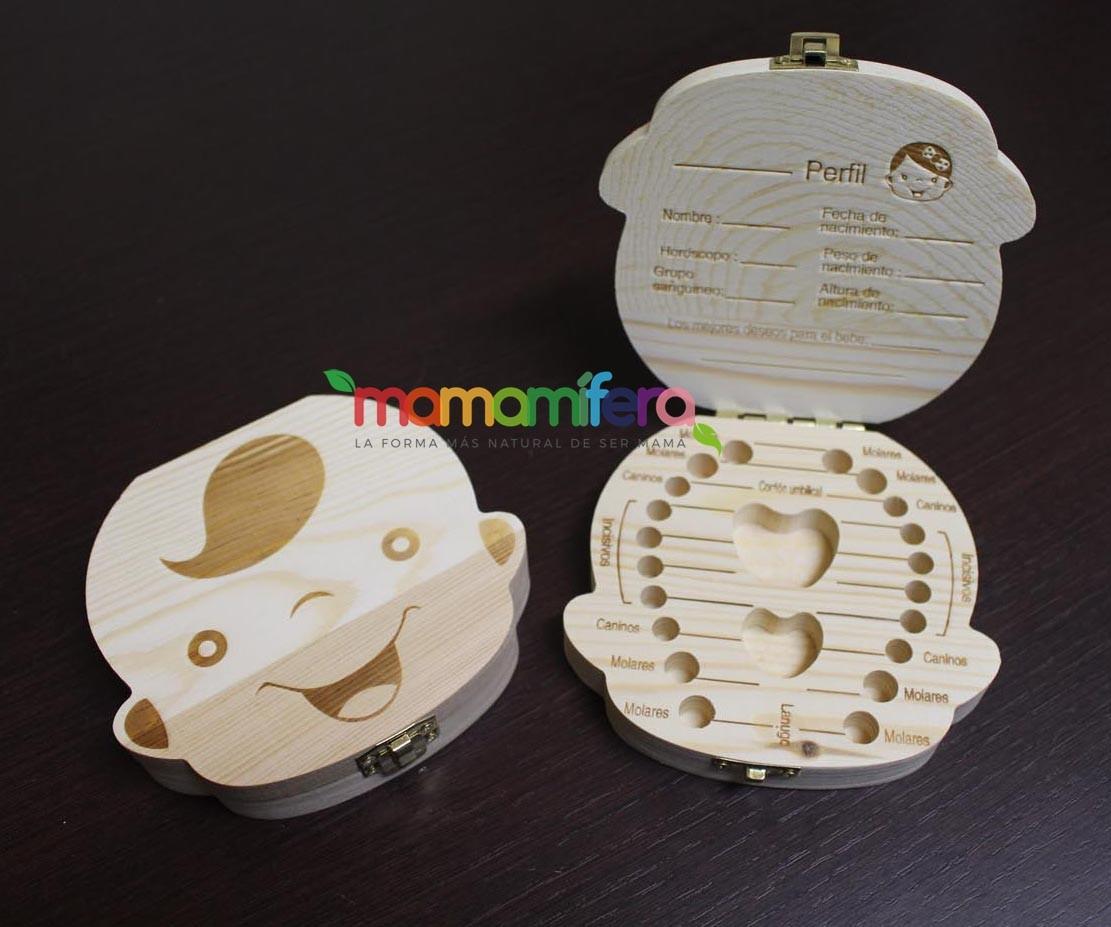 Cajita guardadientes de madera - bebé niño unisex