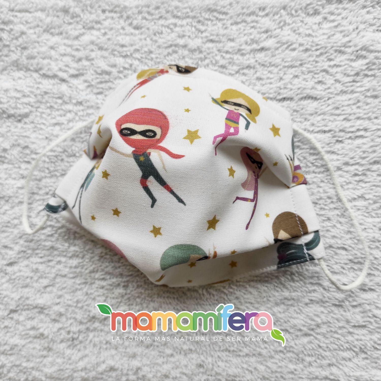 Mascarilla higienica infantil - tejido homologado - Superheroínas